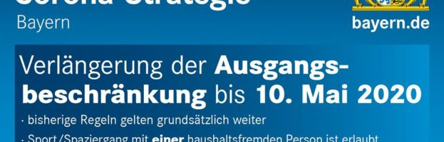 Verlängerung der Quarantäne bis 10.05.2020